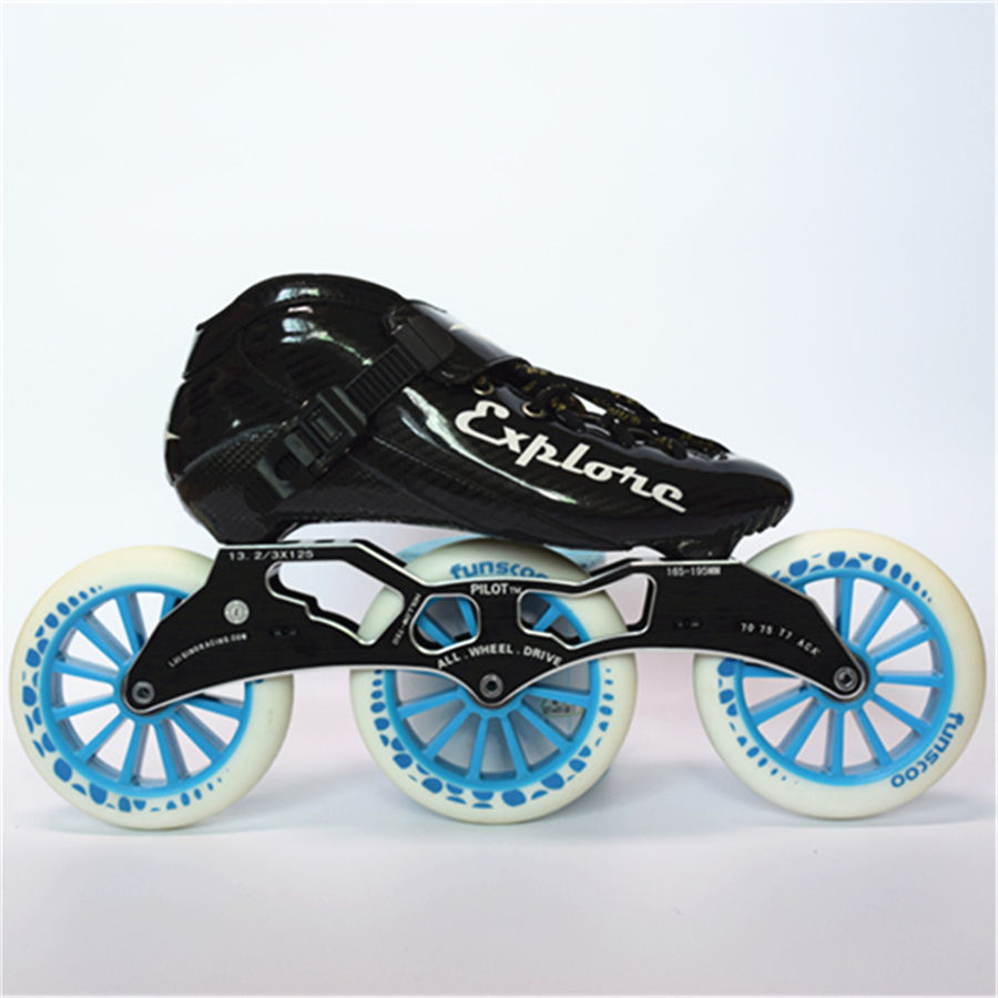 Taille ue 30-44 Vitesse roller-skates Carbone fibre Concurrence Skate 3*125mm Rue Course De Patinage Patines Similaire Avec powerslide