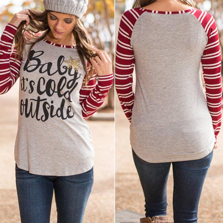 Baby ist kalt draußen Gestreiften Langarm Baumwolle T Shirt Für Frauen Tops Patchwork Blusas Weihnachten T Hemd Ropa Mujer XL XXL XXXL
