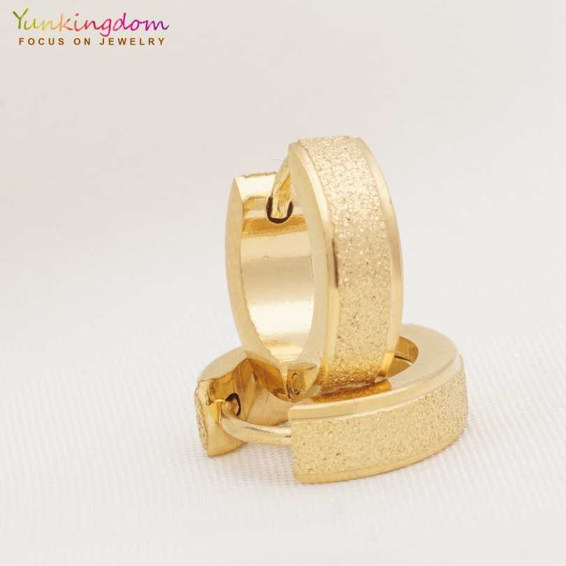 Yunkingdom retail/wholesale gold-color stainless steel circle earrings for women brincos 2018 new UE0326