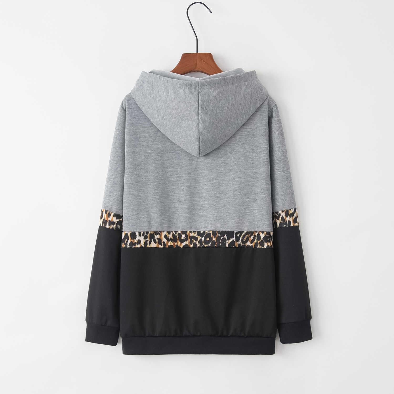 Autunno e Inverno Nuova Moda Europea e Americana ROSA Alfabeto Stampato A Maniche Lunghe Leopard Patterned Sanitario Abbigliamento