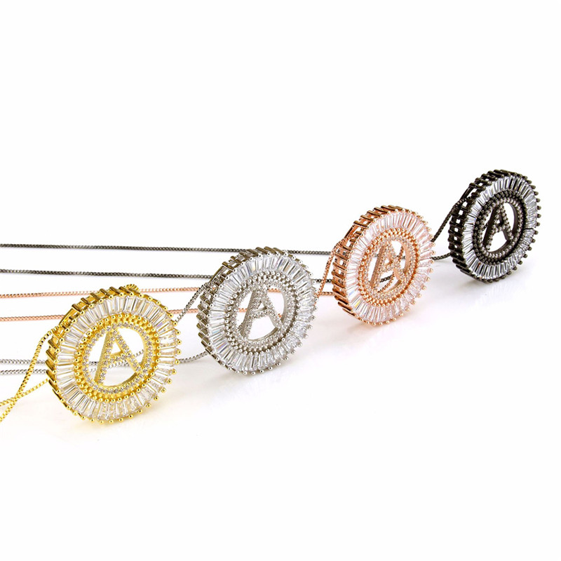 ROMAD Cubic Zirconia Initial Necklace Pendant Letter Neckalce Silver Hip Hop Jewelry Women White CZ Alphabet Necklace все цены