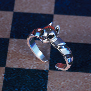 Image 5 - Game Anime Persona 5 P5 Joker Persona Mask Ring S925 Sliver Protagonist Eye Wolf Rings Women Men Animal Ring Cosplay Jewelry