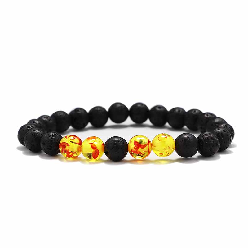 Мужские Браслеты Бусы из лавового Камня Натуральный Камень дерево жемчуг тигровый глаз бренд Модные четки 8 мм браслеты для йоги для женщин ювелирные подарки - Окраска металла: 1