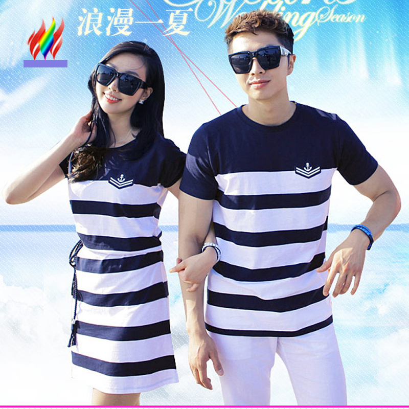 Couple T-Shirt Matching Lovers Clothes Female Male Top Honeymoon Holiday Beach Valentine Wear Blue Stripe Cotton Couple T Shirts