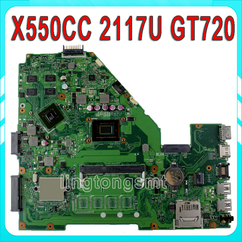 for ASUS X550CC R510CC DDR3 Laptop Motherboard GT720M 2117 CPU HM76 X550CC REV:2.0 PN:60NB00WA 100% Tested for asus x550cl laptop motherboard x550cc r510cc x550cl rev2 0 mainboard 1007u 4g 1600 mhz hm76 chipset ddr3 fully tested