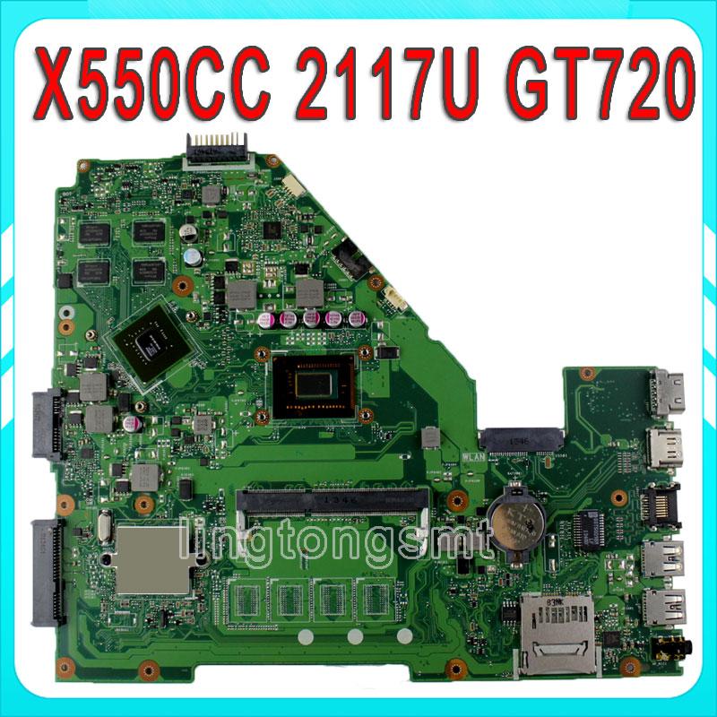 for ASUS X550CC R510CC DDR3 Laptop Motherboard GT720M 2117 CPU HM76 X550CC REV:2.0 PN:60NB00WA 100% Tested n56vm rev 2 3 laptop motherboard suitable for asus n56vm n56vj n56vz gt630m hm76 system motherboard original new