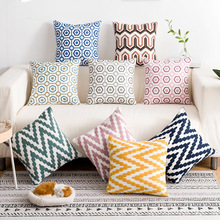 Modern Simple Cotton Pillow Case Natural Wave Geometric Pattern Embroidered Cover Washable Throw Cushion 45*45Cm