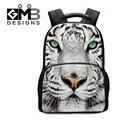 Dispalang White Tiger Head Felt Computer Backpack For Men Animal Printing School Bags For Teenager Travel Bag Mochila Escolar