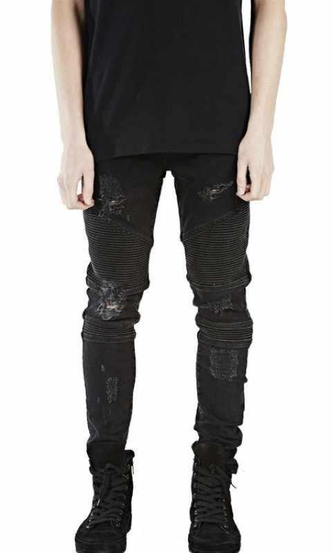 Ünlü Marka Erkek Düz Slim Fit Biker Kot Pantolon Denim pantolon Kot Erkekler Biker Denim sıska Erkek Jean Mavi Siyah Gri pantolon