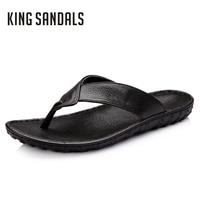 Men Slippers Casual Shoes Flip Flops Comfortable Beach Slippers Massage Genuine Leather Handmade Sandals Men Beach