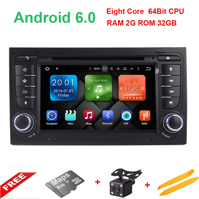 Android 6.0 Eight Core 2 Din 7 Car DVD GPS For Audi A4 2002-2008 S4 RS4 8E 8F B9 B7 RNS-E 2 Din DVD A4 Navigation Stereo Radio