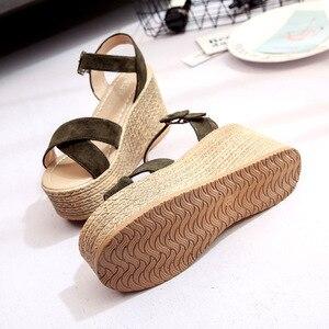 Image 5 - Women Wedges Sandals 2020 Summer Super High Shoes Woman Platform Sexy High Heels Female Fashion Sandal Ladies Footwear SH030503