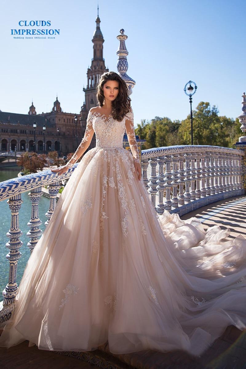 Stunning Luxury Flowers Muslim 2019 Full Lace Wedding Dress With Royal Train Bridal Dress Ball Gown Vestige De Noiva