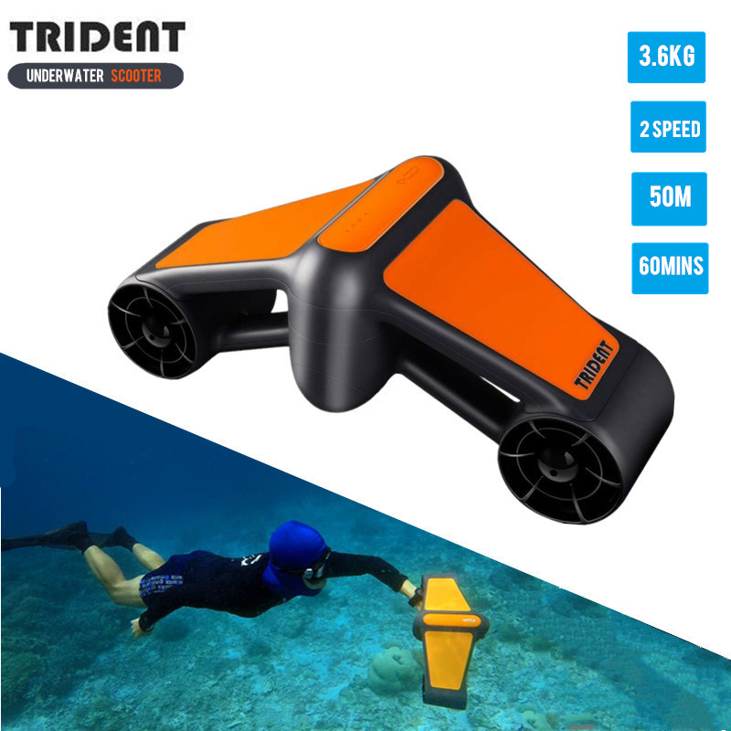 2019 NEW Trident Waterproof Electric Underwater Scooter Water Sea Two Speed Propeller Diving Pool Scooter Water Sports Equipment scuba dive light