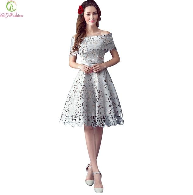 738e6729e4 Vestido SSYFashion Elegant Retro Gray Short Evening Dress Bride ...