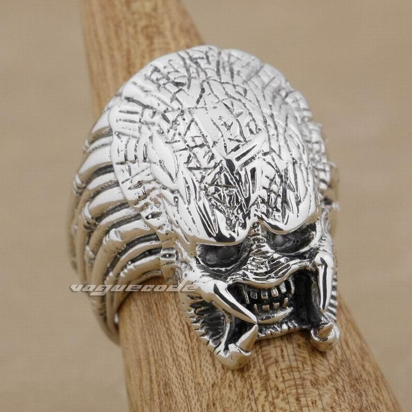 925 пробы Серебряное мужское байкерское кольцо в стиле панк Alien Predator AVP 9M003
