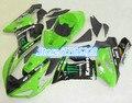 For Kawasaki ZX6R 2005 2006 green black 05-06 Ninja zx-6r 2005-2006 ZX-6R 05 06 ABS Fairing Set Plastic