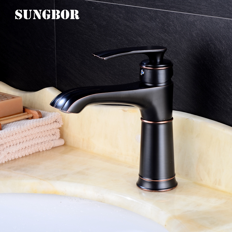 Elegant Black Basin Faucet Brass Bathroom Faucet Basin Sink Tap Mixer Hot and Cold Single Handle Single Hole Water Faucet Crane tulex bathroom basin mixer chrome crane black brass wall mounted basin faucet single handle mixer tap hot and cold water
