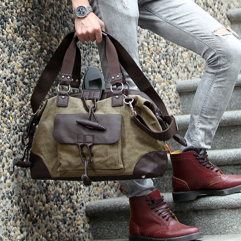2016 new men's canvas bag New Fashion design Washed Canvas Men's shoulder bags Multi bag цена 2017