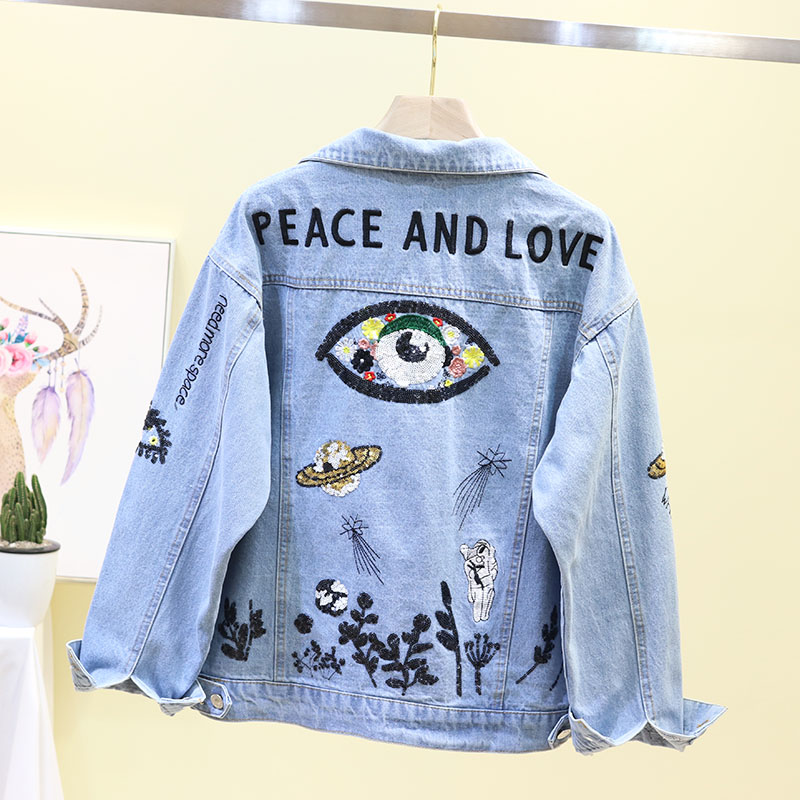 Spring Autumn 2019 New Fashion Jeans Jacket Women Sequin Embroidery Long sleeve Denim Jacket Women Korean
