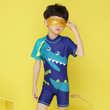 2019 New Kids Swimwear boys Cartoon Crocodile Diving Suit Wetsuits kids wetsuits for swimming short sleeves swimsuit kids(China)