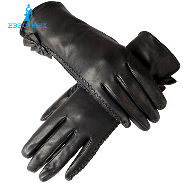 Fashion gloves women,Wrist side butterfly decoration,Genuine Leather,Ladies gloves,Female gloves,Free shipping