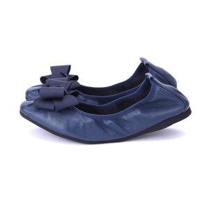 Image 3 - מותג מעצב Bowknot קונוס נעלי אישה שטוחה נעלי אלגנטי נוח ליידי אופנה כיכר ראש נשים סופר רך בלט דירות
