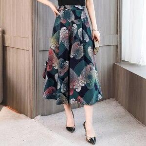 Image 2 - Baskı geniş bacak pantolon kadın elastik bel etek pantolon gevşek geniş bacak pantolon kadın artı boyutu 4XL pamuk ayak bileği uzunluğu pantolon