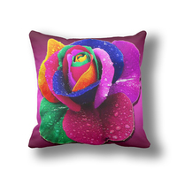 IKathoME Rainbow Colorful Rose 3D Flowers Decorative Outdoor Pillow Cushion Covers 45 45cm All Size Throw