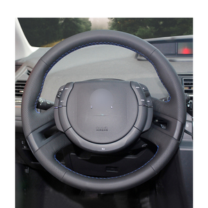 Image 2 - Hand stitched Black PU Artificial Leather Car Steering Wheel Cover for Citroen C4 Picasso 2007 2013