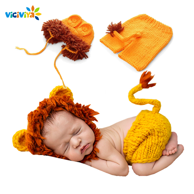 Newborn Baby Crochet Knit Costume Photo Photography Prop Girls Boys Outfits Fotografia Clothes and Accessories lion Photo Shoot