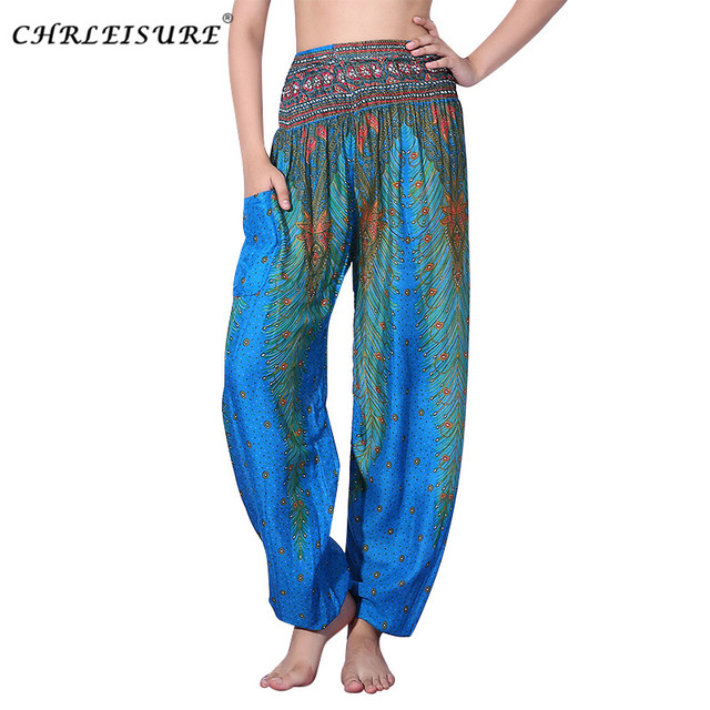 bd3a995c96ed6 CHRLEISURE Women Bohemian Harem Pants Summer Beach Printed Trousers Fashion  Plus Size Bloomers Boho Pants Women