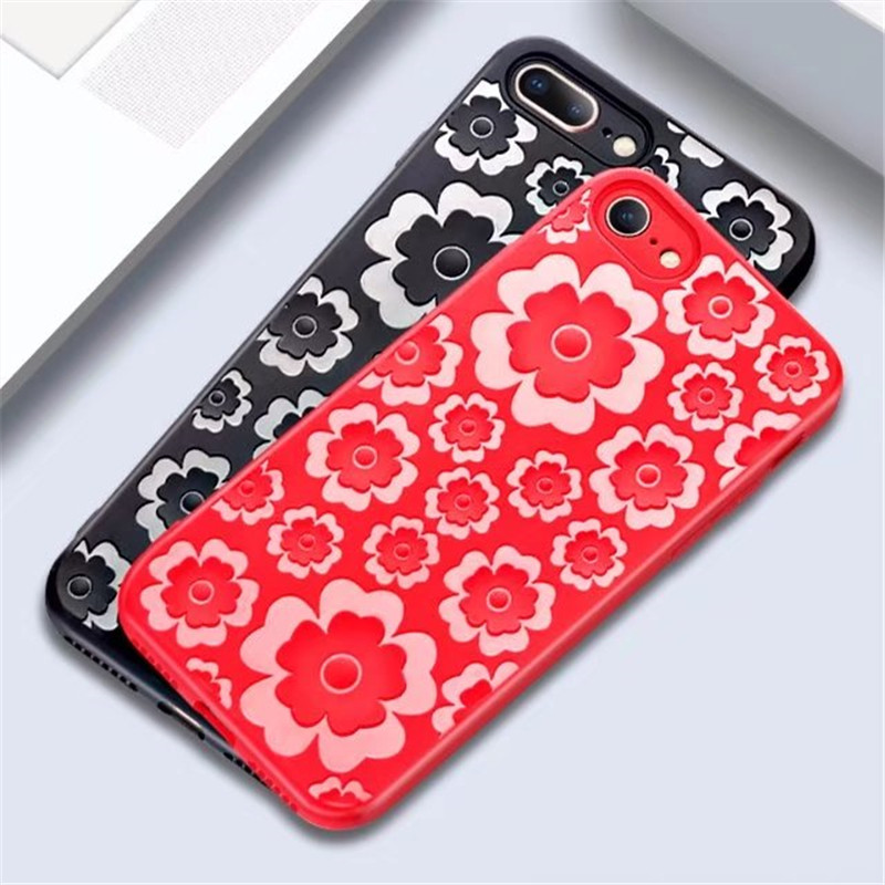 For iPhone X 6 6s 7 8 Plus Case Silicone 3D Relief Flower TPU Soft Phone Case For Samsung S8 S9 Redmi 5 Plain Matte Back Cover