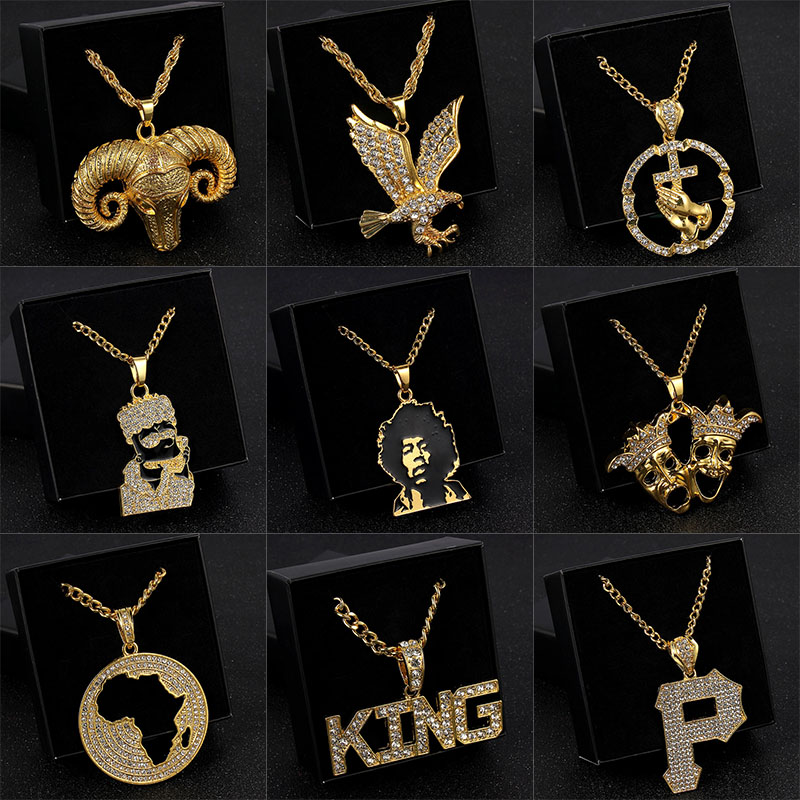SELITE Microphone Crystal Chain Necklace Rapper Headphone Music Note Guitar Charm Pendant Necklace Hip Hop Jewelry Men Women Gifts black