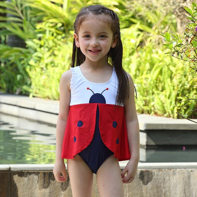 Cute Ladybird Girls Swimwear Kids One Piece Swimsuit Lovely Skirt Baby Swimsuits with Ca ...