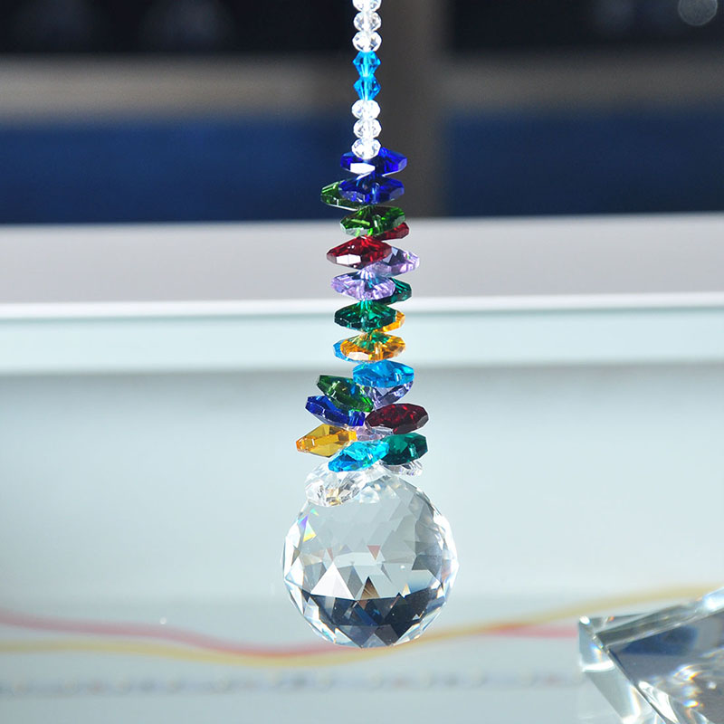H & D 40мм Crystal Ball Prism Rainbow Chakra Hanging Suncatcher - Бақша өнімдері - фото 3