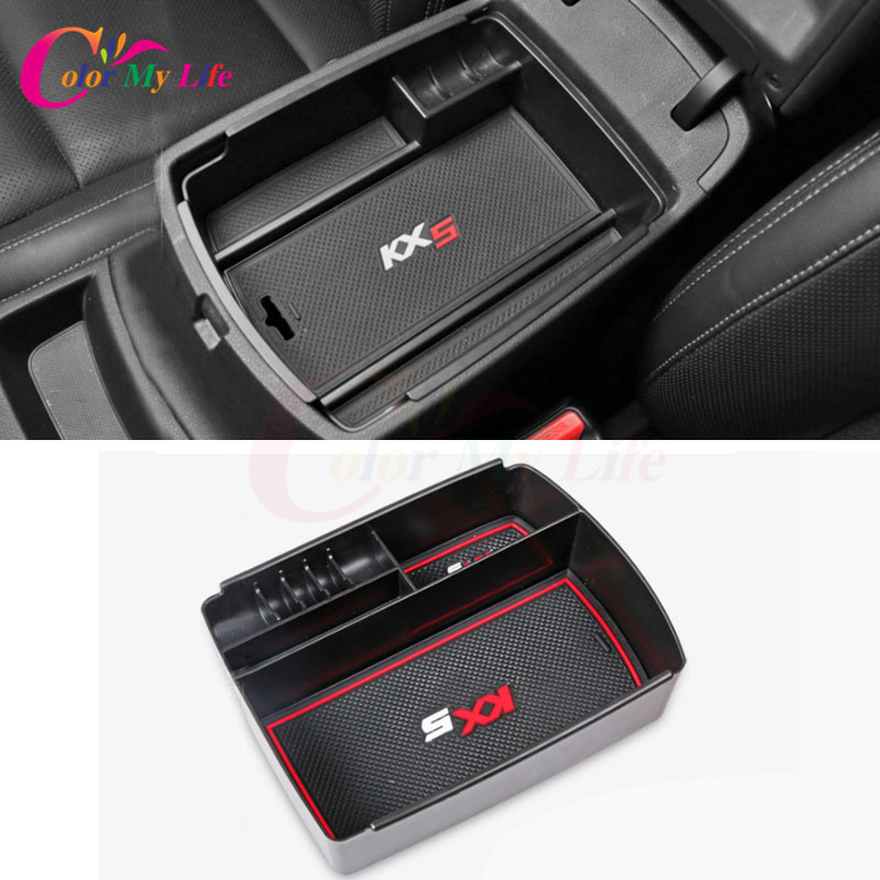 1 Piece ABS Black Car Glove Box Armrest Storage Box For Kia Sportage KX5 QL AT LHD 2016 2017 ( For Electronic Hand Brake )