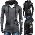Men Fashion Print Hooded Long Sleeve Coat Jacket Outwear Zipper Jumper