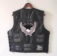 1d9c6793e06c5 BONJEAN homme aigle Patch noir en cuir véritable moto gilet + laçage US  drapeau MC peau de mouton sans manches Biker vestes Patc.