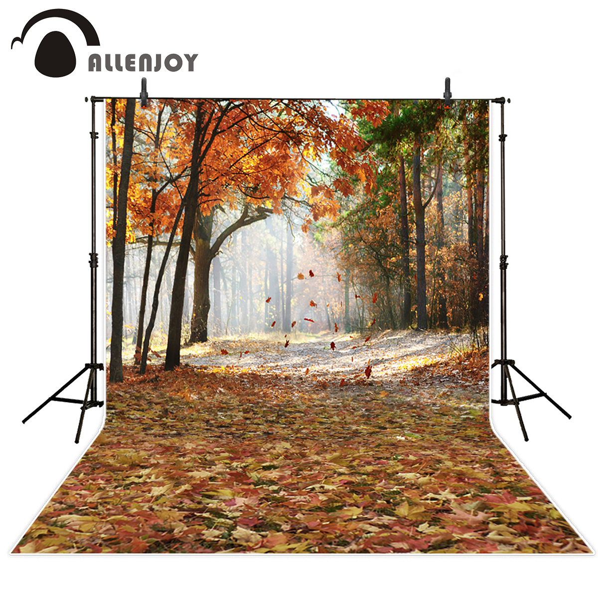 Allenjoy photography backdrops Autumn forest backgrounds smoke leaves photographic background fond studio photo vinyl photocall fond studio photo vinyle foto background photography backdrops autumn wood window photography backdrops
