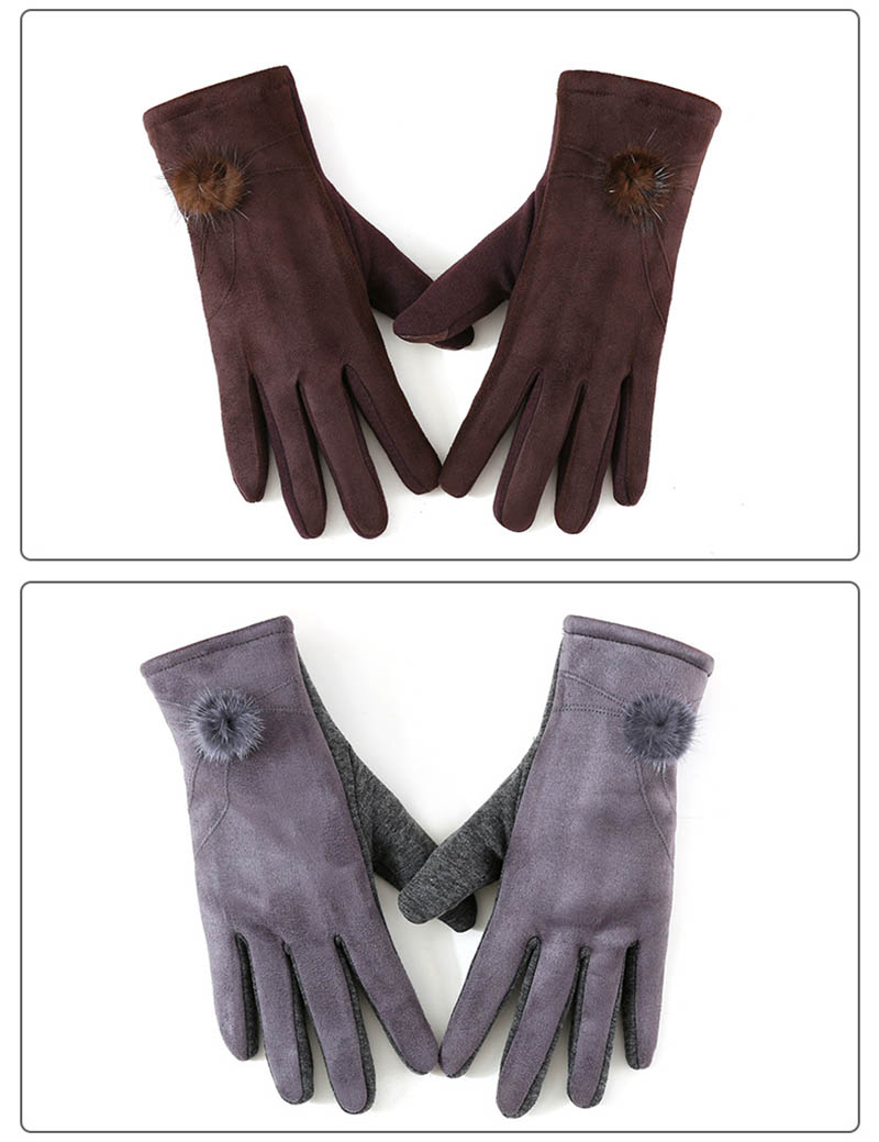 Winter Windproof Touch Screen Gloves for Female made of Cashmere Suede Leather Allows to Use Touch Screen Device Freely 13