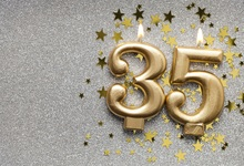 hot deal buy laeacco photo backgrounds happy 35th birthday party candle gold silver figure star post photo backdrops photocall photo studio
