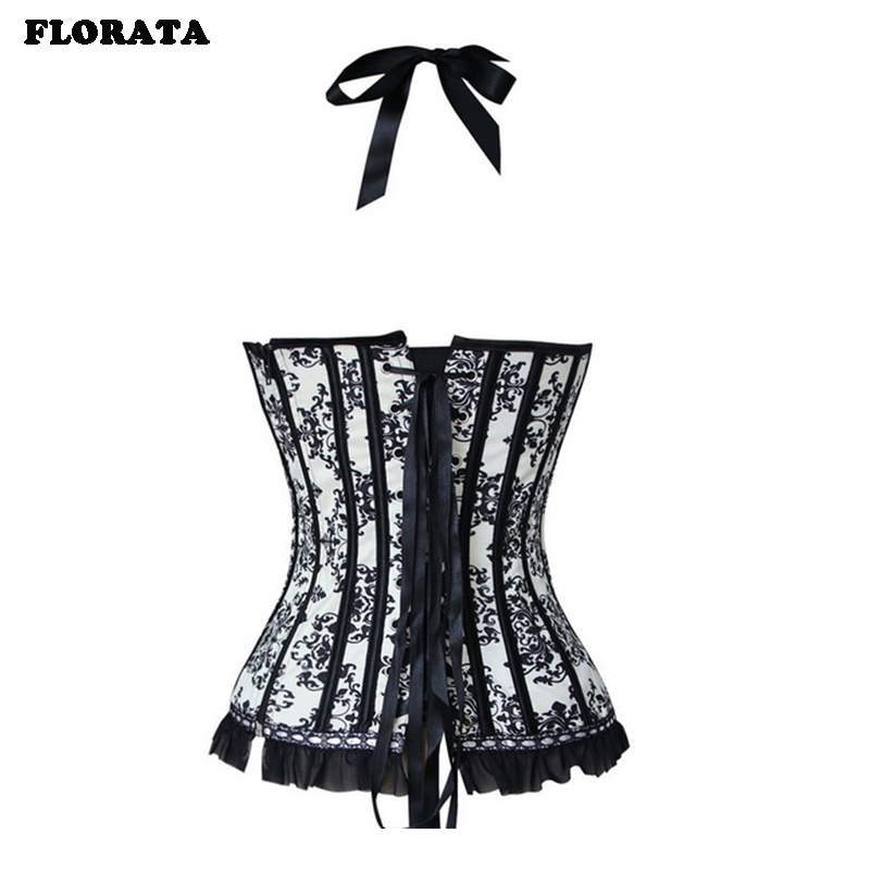 FLORATA USPS Women Sexy Satin   Corset   Brocade Floral   Bustier   Top   corset   Overbust Strap Lace Up body shaper S-2XL dropship