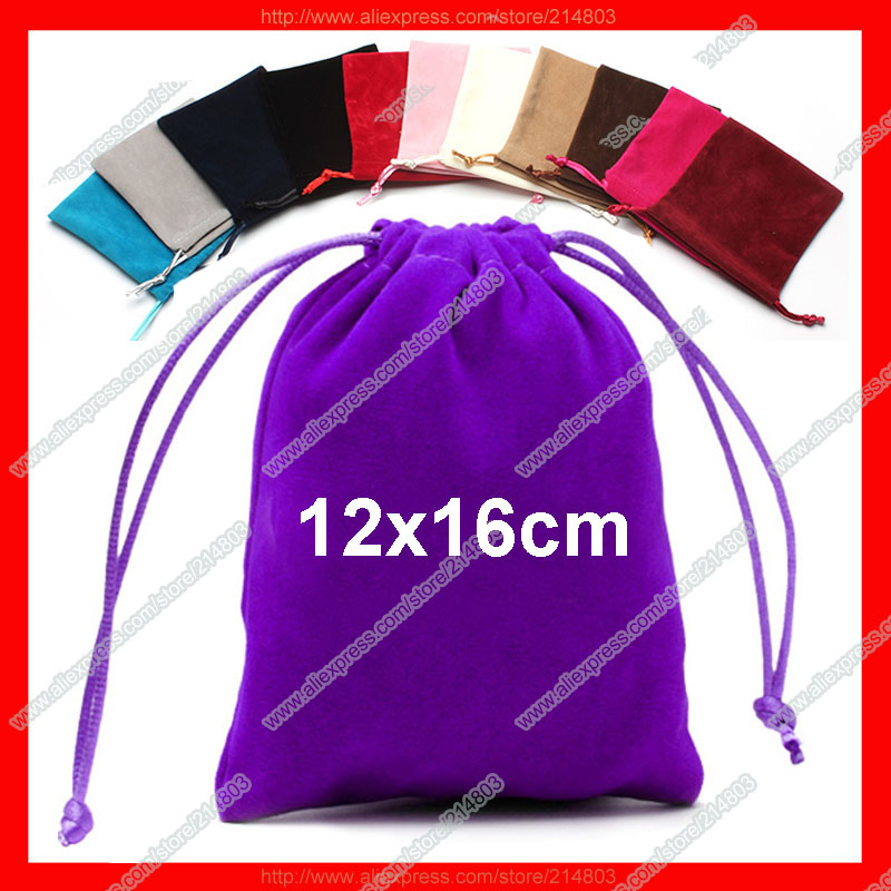 (100pcs/lot) size 12x16cm pouple promotion gift drawstring velvet bag with logo