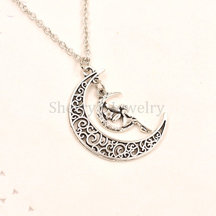 Antique silver plated alloy metal charm fairy sitting on crescent antique silver plated alloy metal charm fairy sitting on crescent moon necklace pendant jewelry for girls and women in pendant necklaces from jewelry aloadofball Image collections