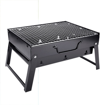 シンプルなピクニックバーベキューラックポータブル屋外バーベキューグリル肥厚黒鋼折りたたみ木炭屋外ツールホームキッチン料理