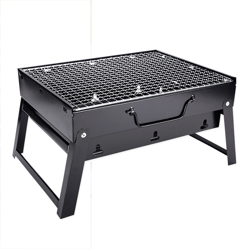 Simple Picnic Barbecue Rack Portable Outdoor BBQ Grill Thickened Black Steel Folding Charcoal Outdoor Tools Home Kitchen Cooking