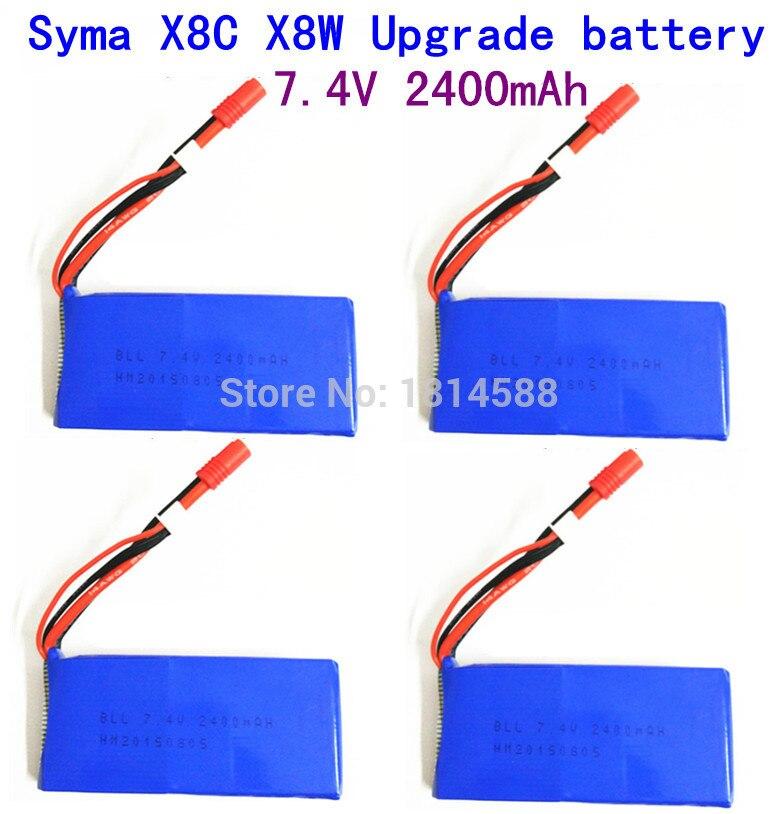 4pcs SYMA X8 X8A X8C X8C-1 X8W X8G 7.4V 2400 mAh Li-po Battery RC Quadcopter X8C X8W Spare Parts syma x8c x8w x8g rc quadcopter spare part upgraded 7 4v 2400mah li battery