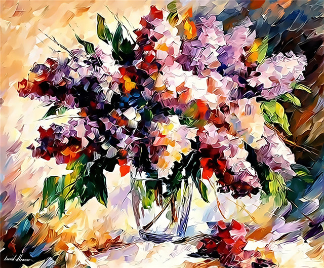Purple Flower In Vase Painting Digital Oil Painting Home Decor Wall