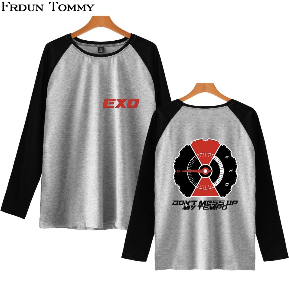 Women's Clothing Frdun Tommy Exo Raglan Casual Long Sleeve T-shirt O-neck Kpop Casual 2018 New Arrival Fans Fashion Casual Style Cool Clothes Luxuriant In Design T-shirts
